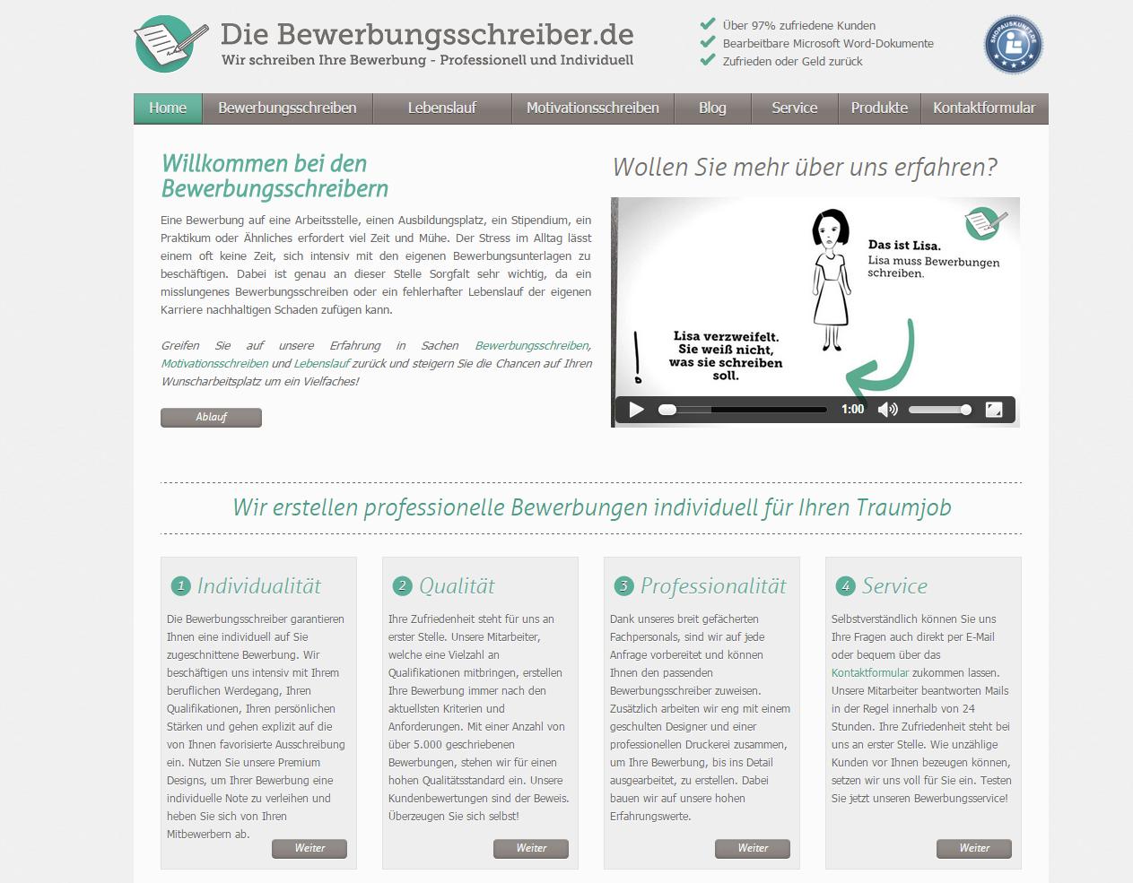 Webseitenvorschau die-bewerbungsschreiber.de
